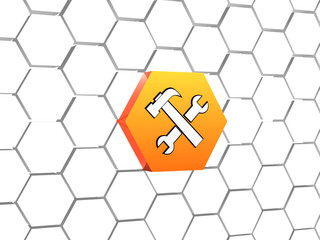 tools sign in orange hexagon