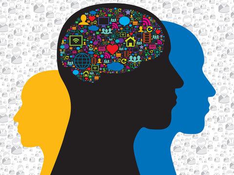Brain in the social media icons