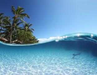 Wall Mural - Blue tropical clear sea