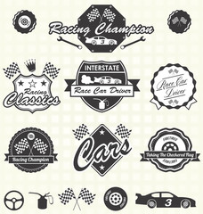 Vector Set: Retro Race Car Driver Labels and Icons