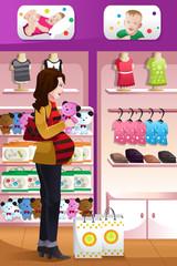 Pregnant woman shopping baby stuff