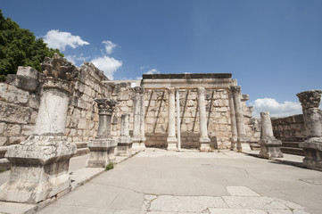 Ancient synagogue ruins in Capernaum in Israel