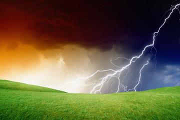 Green hills, stormy sky