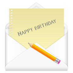 envelope with drawing happy birthday