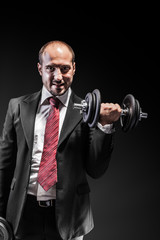 Businessman and weights