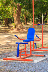 Exercise equipment in national park at Kanchanaburi,Thailand.