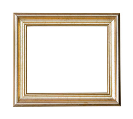 Gold wooden frame isolated on white background