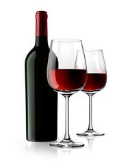 2 Rotweingläser und Rotweinflasche