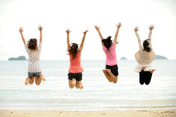 Group of jumping teenager people