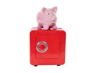 Vintage Piggy Bank on Coin Bank Safe