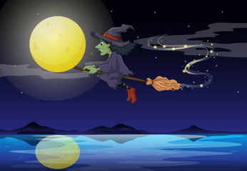 A witch riding on a broom in a moonlight scenery