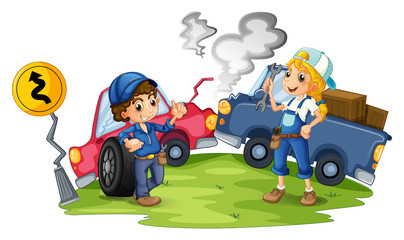 Printed roller blinds Cars A male and a female mechanic fixing the damaged cars