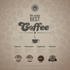 Coffee menu poster vector design template in retro style