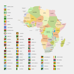 Africa flags and map vector illustration