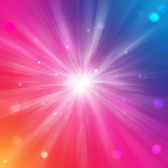 Rainbow background with circles and light rays