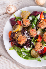 Grilled stuffed MUSHROOMS with colourful salad