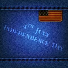 "Jeans background with a flag and the inscription ""Indepence Day"""