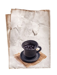 Coffee cup on old paper, background for menu