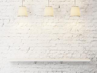 white brick wall with shelf and lamps