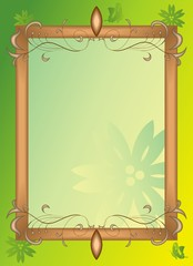 ornament vector frame on green floral background
