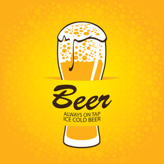 banner with glass of beer on a yellow background
