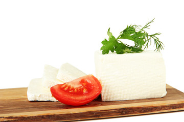 Sheep milk cheese, red tomato with parsley and dill