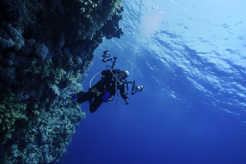 Underwater Photographer at a Reef in Egypt