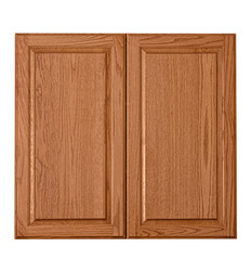 Wooden cabinet doors isolated over white
