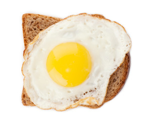 Fried egg on toast from above