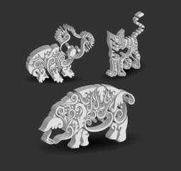 Koala, Cat, and Pig Curl Ornament Decorations.
