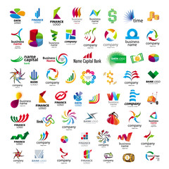 Collection of vector icons for banks and financial companies