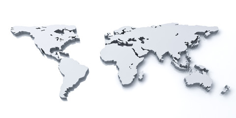 3d world map over white background with reflection