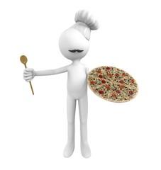 Hombre cocinero con pizza en la mano