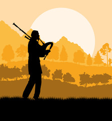 Scottish bagpiper silhouette landscape vector background