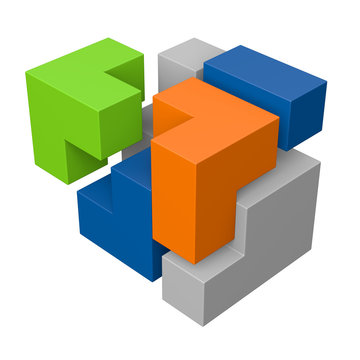 Modulares System: 3D-Illustration