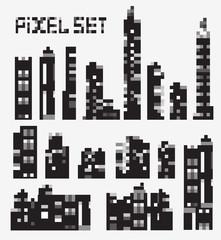 A set of vector pixel buildings