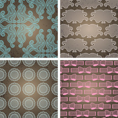 Seamless lace patterns on grunge texture.