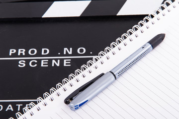 Cinema Clapper Board and Notebook
