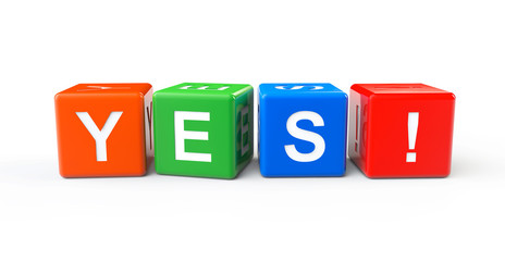 Toy cubes as Yes sign