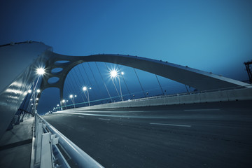 Canvas Prints Bridge Steel structure bridge night scene