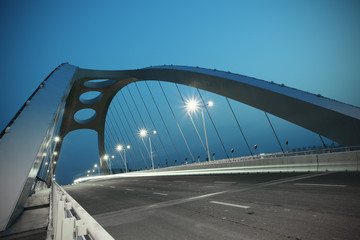 Foto auf AluDibond Bridges Steel structure bridge night scene