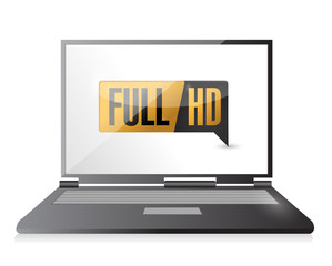 laptop with Full HD. High definition button.