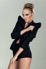 Fashion girl in black jacket