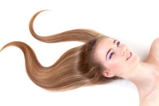 Girl with dark blond hair