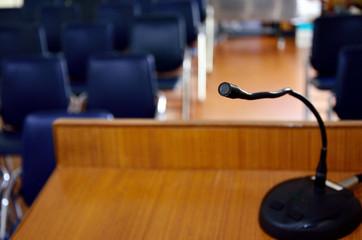 Microphone on wooden podium