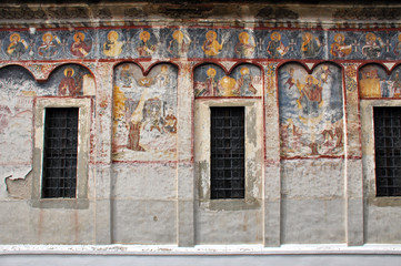 Orthodox painted murals, fresco on a church