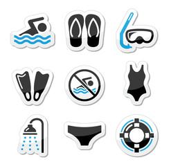 Swimming, scuba diving, sport vector icons set