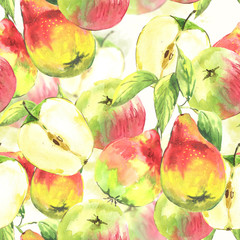 Seamless background, watercolor pears and apples