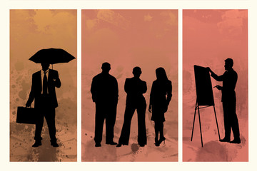 Buntes Tryptichon mit Business-Silhouetten