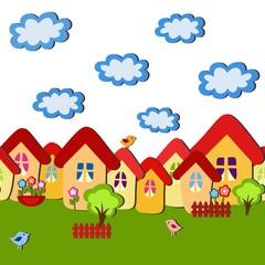 Seamless cartoon child pattern, vector illustration